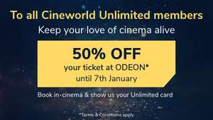 50% off tickets for Cineworld Unlimited holders (Tickets from £2.50)