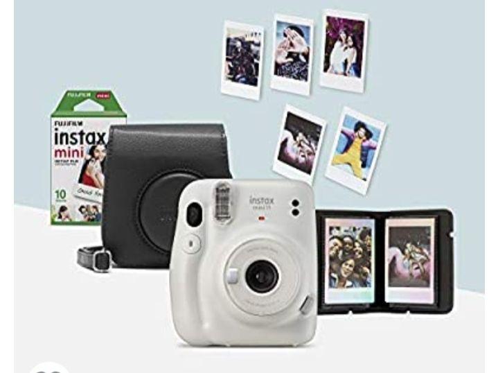 Instax Mini 11, ice white camera bundle - Camera, Camera case, 10 shot mini film, Photo Album, Display stickers, Batteries 79.99 @ Amazon