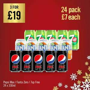 Pepsi Max/7up Free/Fanta Fruit Twist/Fanta Orange Zero 24 x 330ml Can Cases are 3 for £19 (or £7 Each) @ The Food Warehouse (Oldham)