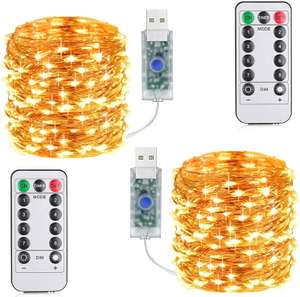 2 x 33ft 100 LED USB powered fairy lights with remote control £5.69 Prime Sold by Suplong and Fulfilled by Amazon (£3.49 non Prime)