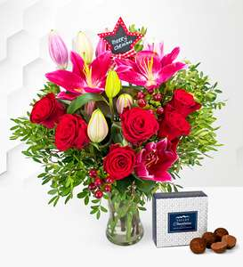 Merry Christmas Flower Bouquet with Hand MadeTruffles £19.99 free delivery with code @ Prestige Flowers