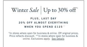 30% off sale + extra 20% when spending over £125 at Abercrombie & Fitch