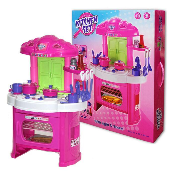 Kids Toy Kitchen Set With Lights, Sound effects & 12 Kitchen Utensils - £10 Delivered @ WeeklyDeals4Less