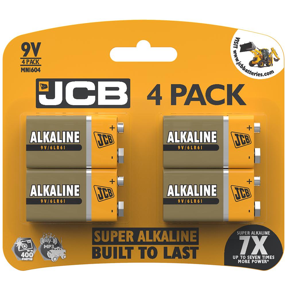 JCB 9v PP3 Alkaline batteries 9 volt pack of 4 £2.99 @ Home Bargains