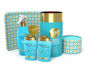 OGX Gift Set, Argan Oil of Morroco Hair Care Gift Set with Heat Protection Spray and Heat Resistant Mat £15 @ Amazon (+£4.49 non-prime)