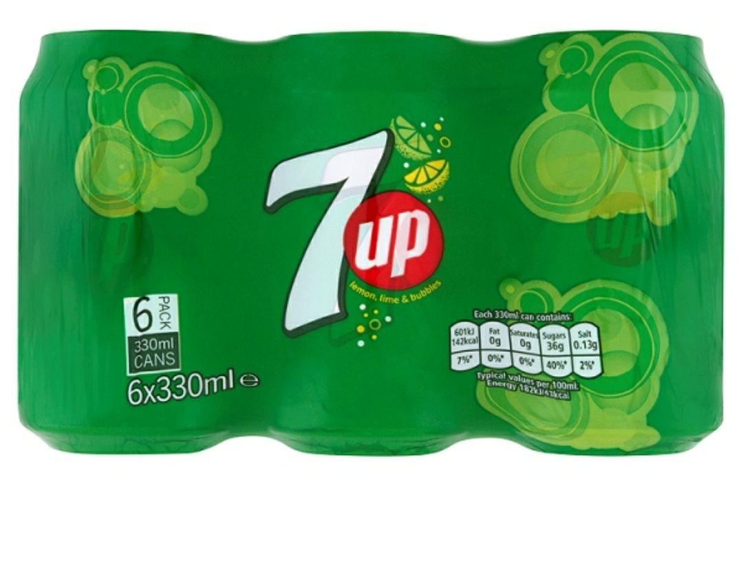 6 pack of 330ml 7 up cans 20p @ Sainsburys(Newbury Park)