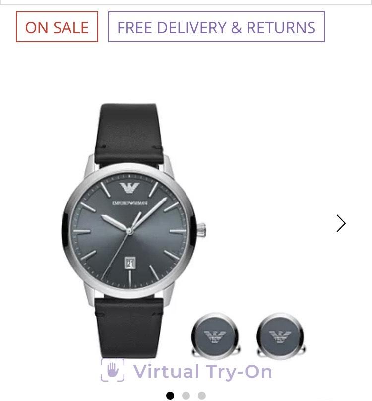 Emporio Armani Men's Black Strap Watch & Cufflinks Set £74 Ernest Jones