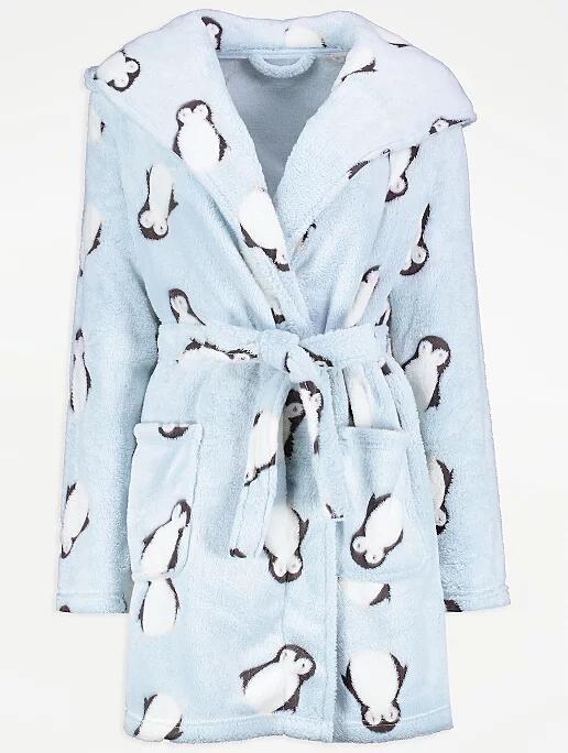 Light Blue Fleece Penguin Print Dressing Gown £8 free c&c Asda