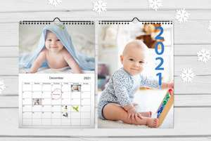 Personalised A4 wall calendar from £1 + £4.99 delivery from Printerpix at Wowcher