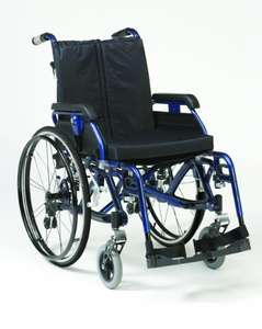 """Drive Enigma K-Chair, Lightweight Aluminium Wheelchair with Suspension and half folding back 18"""" Seat Width, Blue £282.83 @ amazon"""