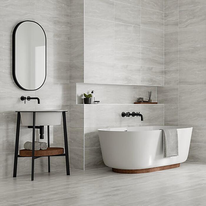 Callika Mist Grey Porcelain Wall & Floor Tiles £12.96 / Everest Slate Porcelain Wall & Floor Tile £11.89 - Free Click & Collect @ Wickes