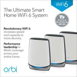 NETGEAR Orbi Whole Home Tri-band WiFi 6 Mesh System RBK853 - WiFi 6 Router with 2 Satellite Extenders Used Like New £636.02 Amazon Warehouse
