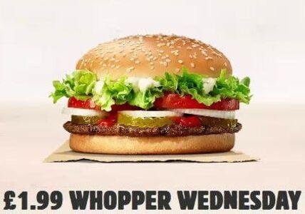 Whopper Burger £1.99 Every Wednesdays via App @ Burger King