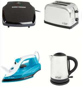 Russell Hobbs 1.7L Kettle/2 Slice Toaster/Steam Iron/George Foreman 2 Potion Grill 8.99 each @Lidl