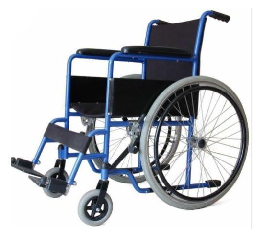 Folding Wheelchair Self Propelled Lightweight Transit Footrest Armrest Brake - Blue (with VAT exempt) - £53.99 with code @ first2save eBay