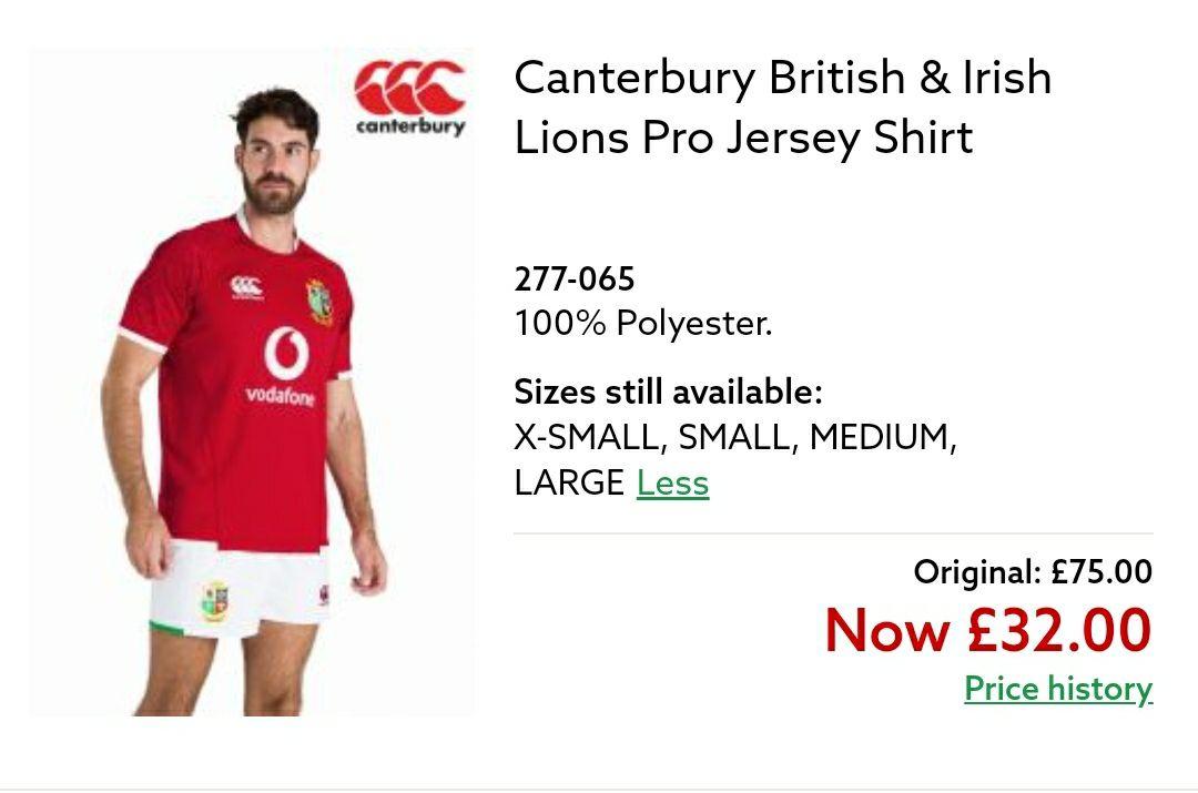 Canterbury British & Irish Lions Jersey - £32 @ Next