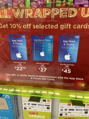 App Store & iTunes Gift Card 10% off (£25+ spend) Asda