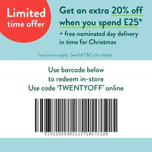 Holland & Barrett Extra 20% off £25 spend + Free nominated day delivery