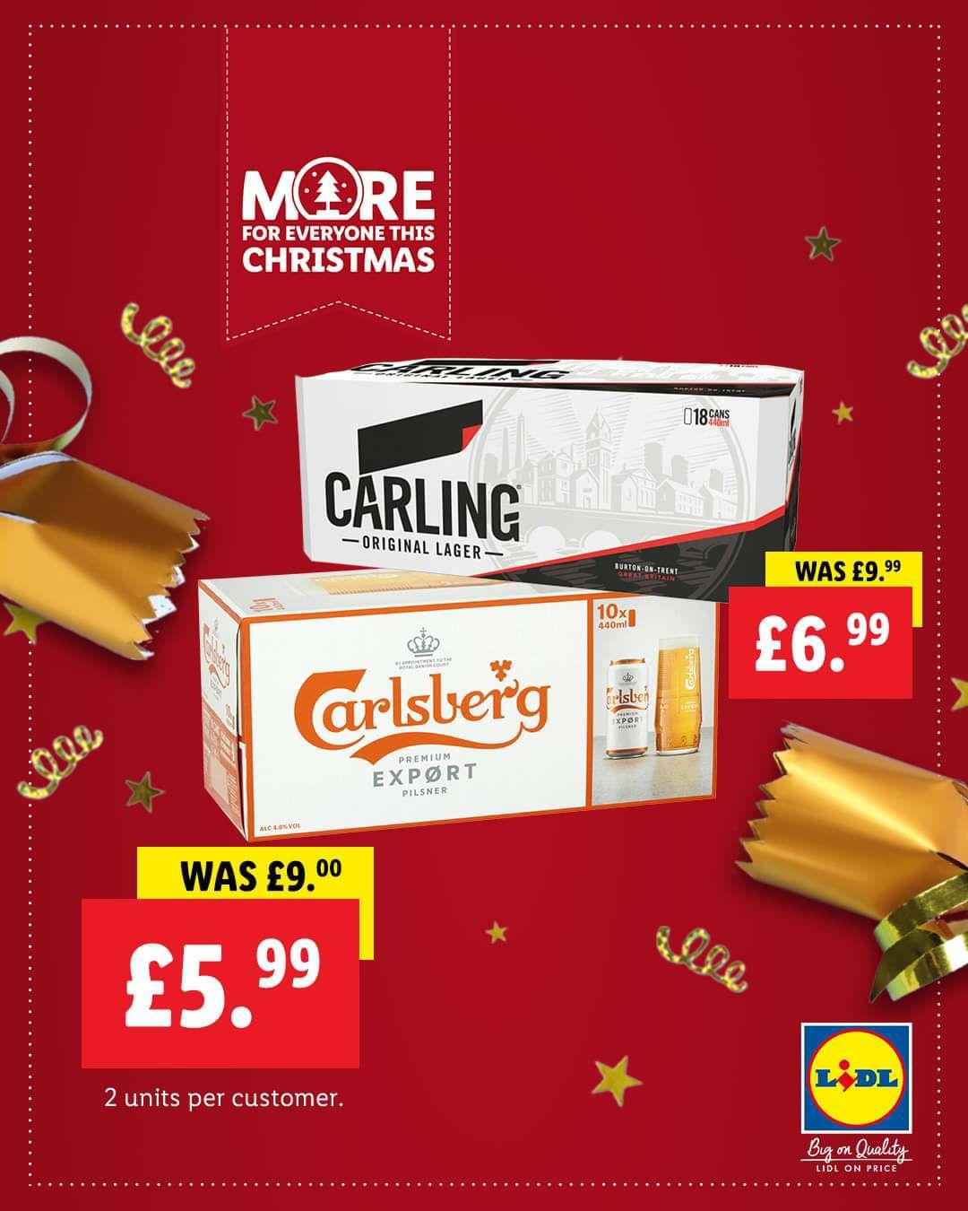 10x 440ml Carlsberg Export £5.99 / 18x 440ml Carling £6.99 @ Lidl Northern Ireland