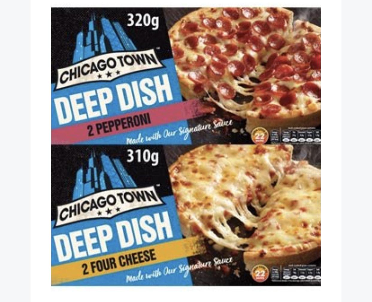 Chicago Town 2 Deep Dish Mega Meaty/Chicken Club/Dish Ham & Pineapple/Pepperoni/Four Cheese Pizzas £1.25 at Asda
