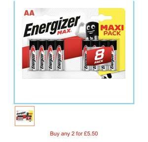 16 Energizer MAX® Alkaline AA batteries (2 Packs of 8) for £5.50 at Sainsbury's