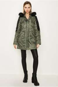 Khaki Pu Detail Parka £13.50 (use code) at Select Fashion - free C&C / £3.95 delivery