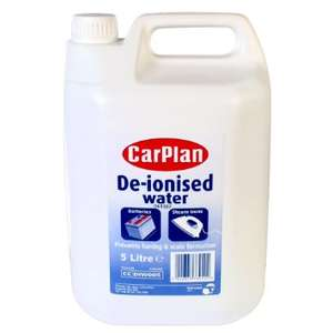 Carplan De-ionised Water, £2.50 for 5 litres to pick up in Asda