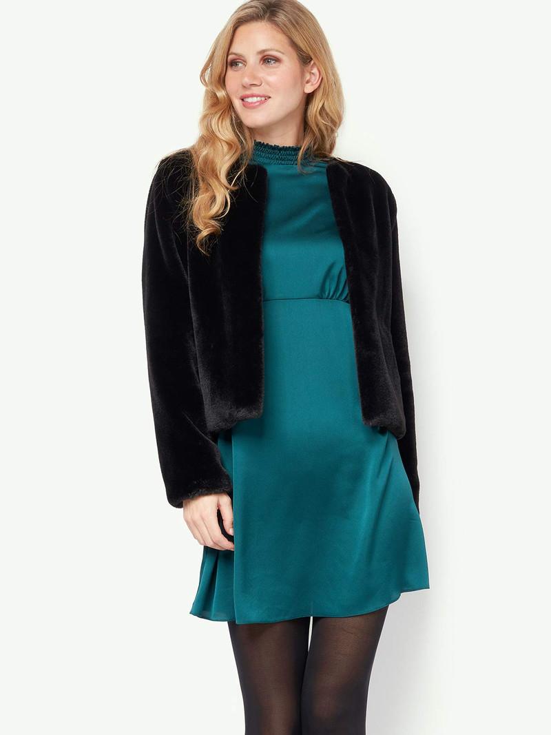 Womens Black Faux Fur Jacket - £8 / £11.99 delivered @ Peacocks
