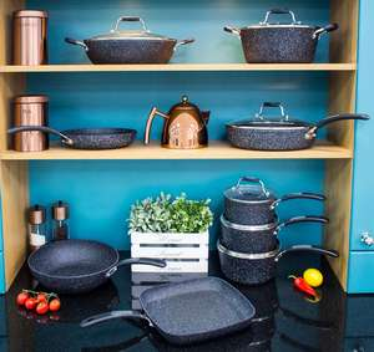 Scoville Neverstick Black 5pc set for £32.50, saute pan 26cm £10, Wok 28cm £12 ,grill pan £9 @ George Click & Collect
