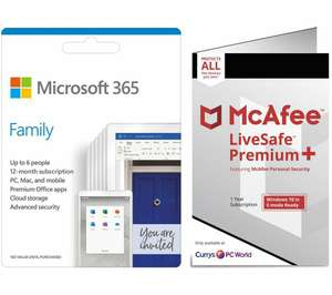Microsoft 365 Family for 6 Users & McAfee LiveSafe Premium 2020 for Unlimited Users Bundle - 1 year - £39.99 Delivered @ Currys PC World