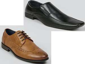 Black Tramline Slip On Shoes - £9    Tan Formal Contrast Sole Brogues - £10 + free click & collect @ Matalan