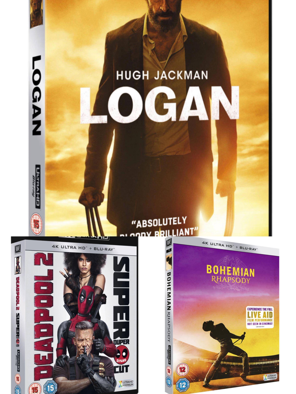 Logan/Deadpool 2/ Bohemian rhapsody 4k UHD blu ray £9.99 each @ HMV free click and collect
