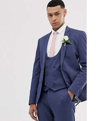 ASOS DESIGN wedding super skinny suit jackets in stretch cotton in indigo blue £21 + £4 delivery @ ASOS