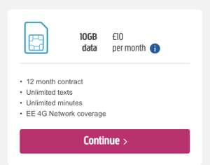 10GB sim deal at plusnet for £10/month for 12 months £120 via QUIDCO £50 cashback