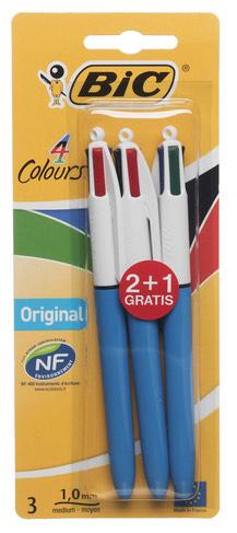 Bic 4 Colours Original Retractable Ballpoint Pen, Pack of 3 - £2.49 (+£4.49 Non Prime) - Min Order 2 @ Amazon