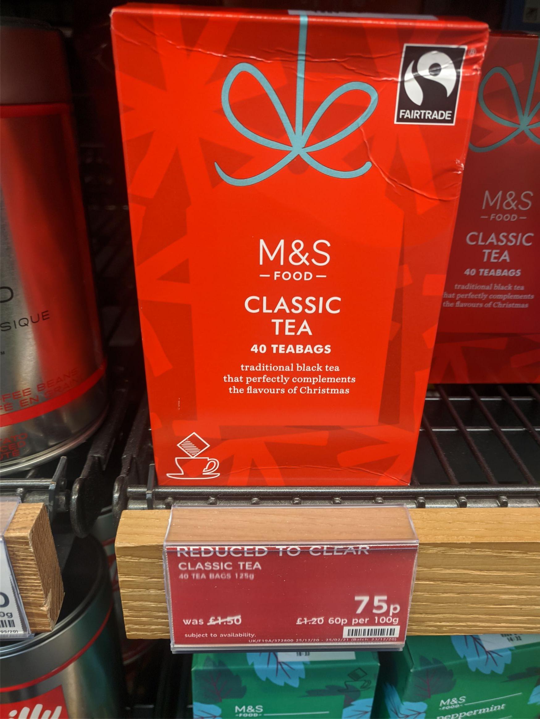 M&S - Classic Tea (40 bags) - 75p @ Marks & Spencer (Canterbury)