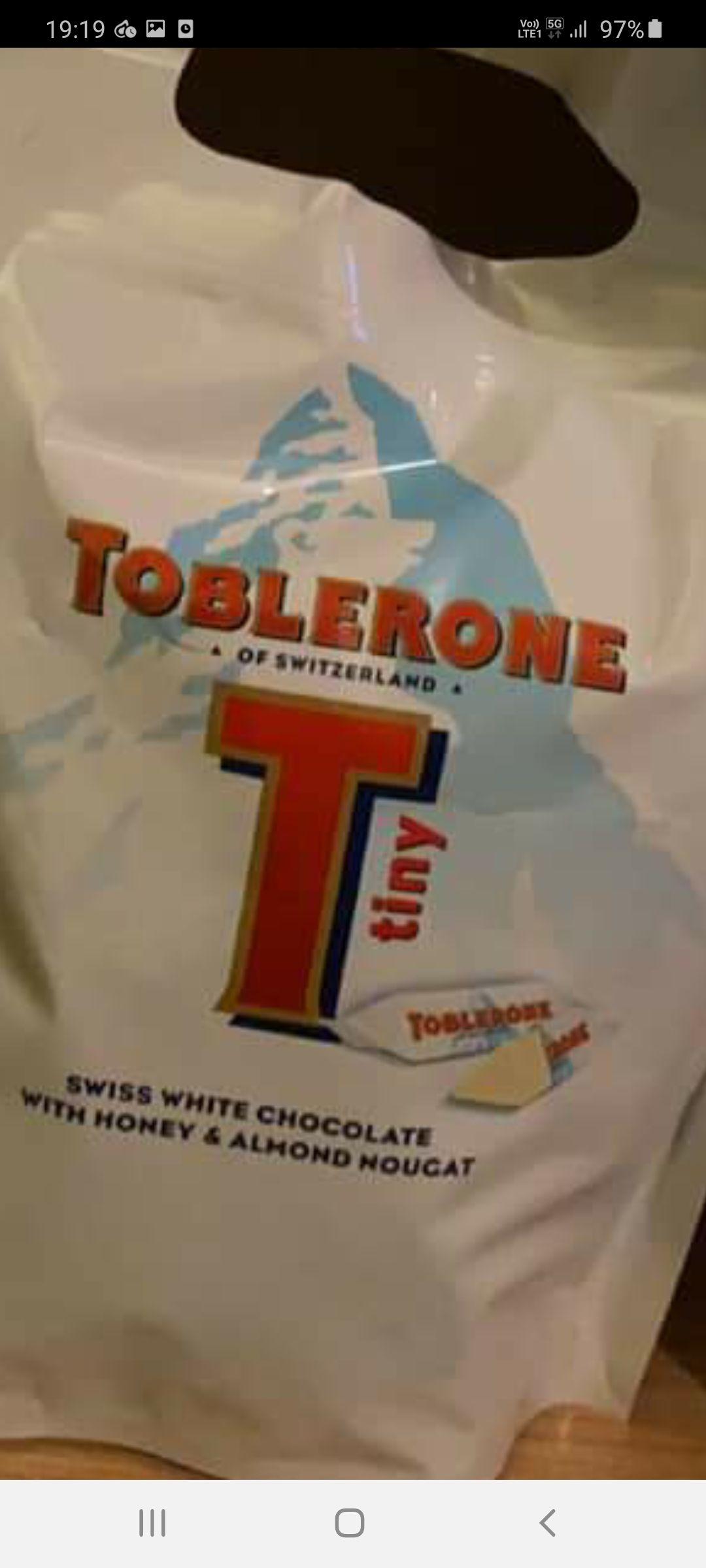 Toblerone White Chocolate Tiny's Pouch 340g are £1 @ Asda INSTORE (Chadderton)