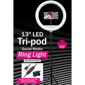 """13"""" LED Tri-Pod Social Media Ring Light with Phone Holder - £19.99 instore @ Home Bargains, Rugby (also available online)"""
