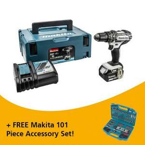 Makita Dhp482m1jw 18v White Combi Hammer Drill With 1 X 4.0ah Li-ion Battery Supplied In Makpac Case £142.80 - Anglian Tool Centre