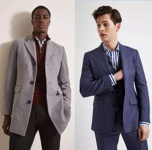 Selection of Men's Wool Blend Coats now £59.95 / 2 Piece Suits £59.95 (+£4.95 delivery / Free on £75) + Free Returns @ Moss Bros