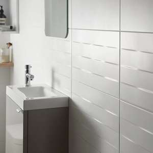 Brindisie White Satin Ceramic Wall tile, Pack of 12, (L)500mm (W)250mm £2 each (£10 delivery) @ B&Q