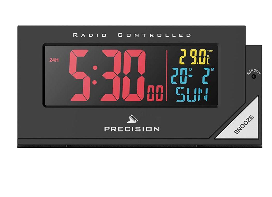 Radio control alarm clock with date & temp - £13.19 (+£4.49 Non-Prime) @ Amazon