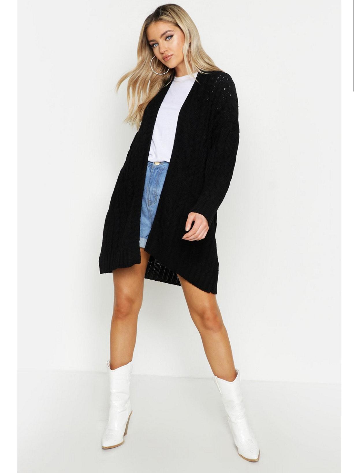 Oversized knitted cardigan - £8 (+£3.99 Shipping) @ Boohoo