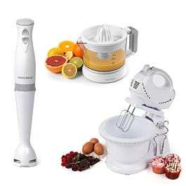 Progress® COMBO–70778 250W Twin Hand/Stand Mixer, 350W Stick Blender, and Electric Citrus Juicer – White £49.99 Free C&C @ Robert Dyas