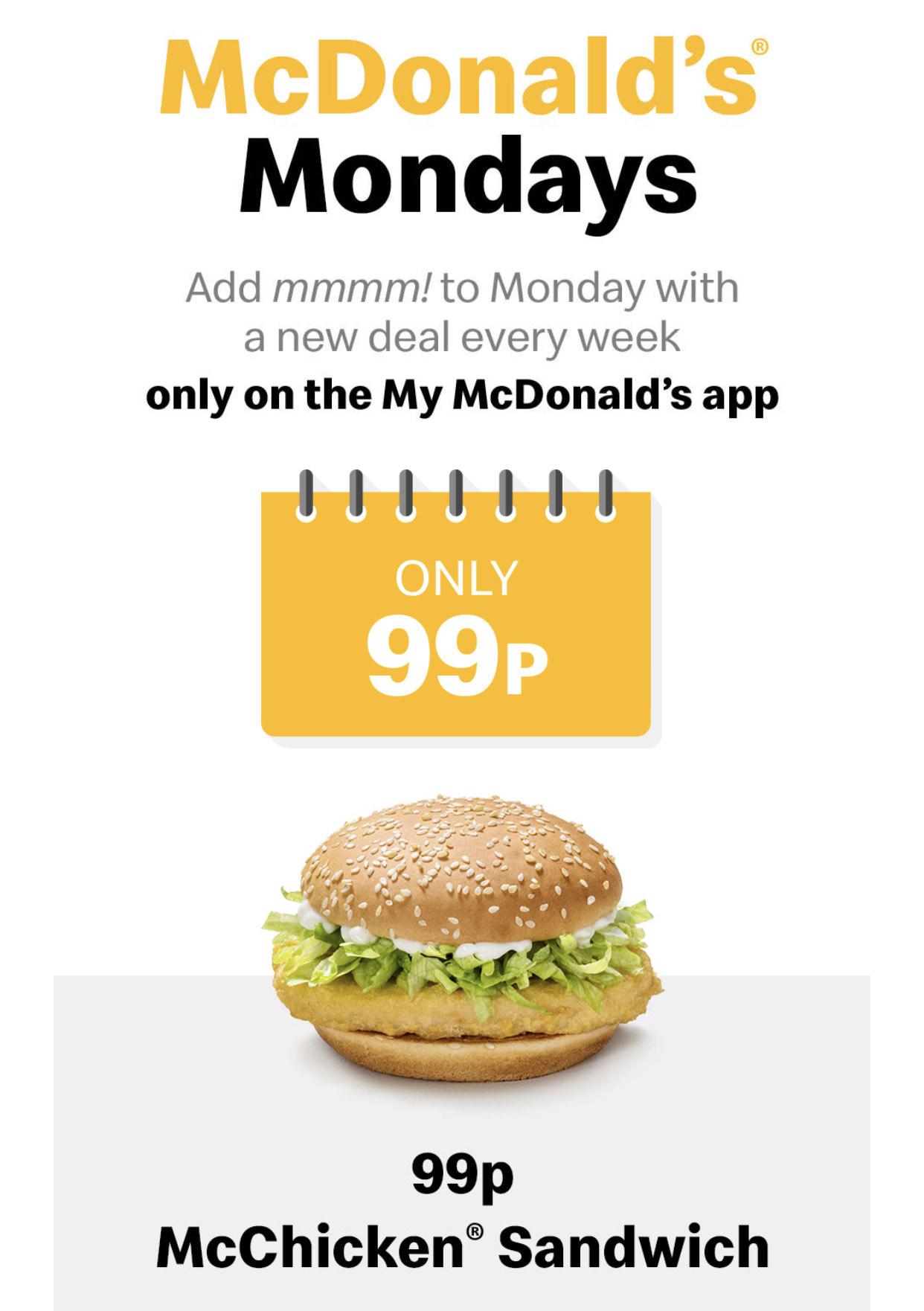 McChicken Sandwich 99p 4th Jan 2021 via App @ McDonalds