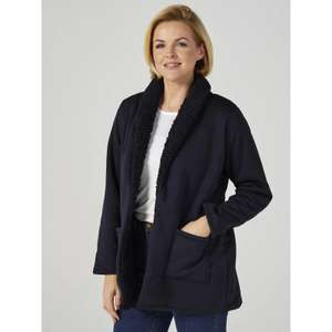 Denim & Co. Sherpa Open Front Cardigan with Patch Pockets £32.93 delivered at QVC