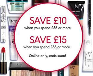 £10 Off £35 / £15 Off £55 spend on Selected No7 - stacks with offers. e.g. make-up that is Half price AND Buy One get one Half price @ Boots