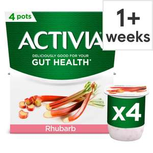 Activia Yogurt 4 X 120G packs £1 Clubcard Price 110G £1.10 Clubcard Price (+ Delivery Charge / Min Spend Applies) at Tesco