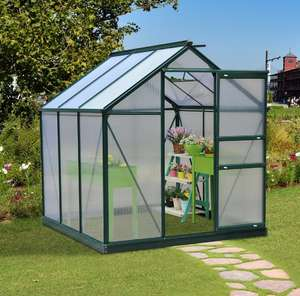 Outsunny 6x6ft Walk-In Polycarbonate Greenhouse Plant Grow Galvanized Aluminium 1 £227.99 using code @ eBay / outsunny