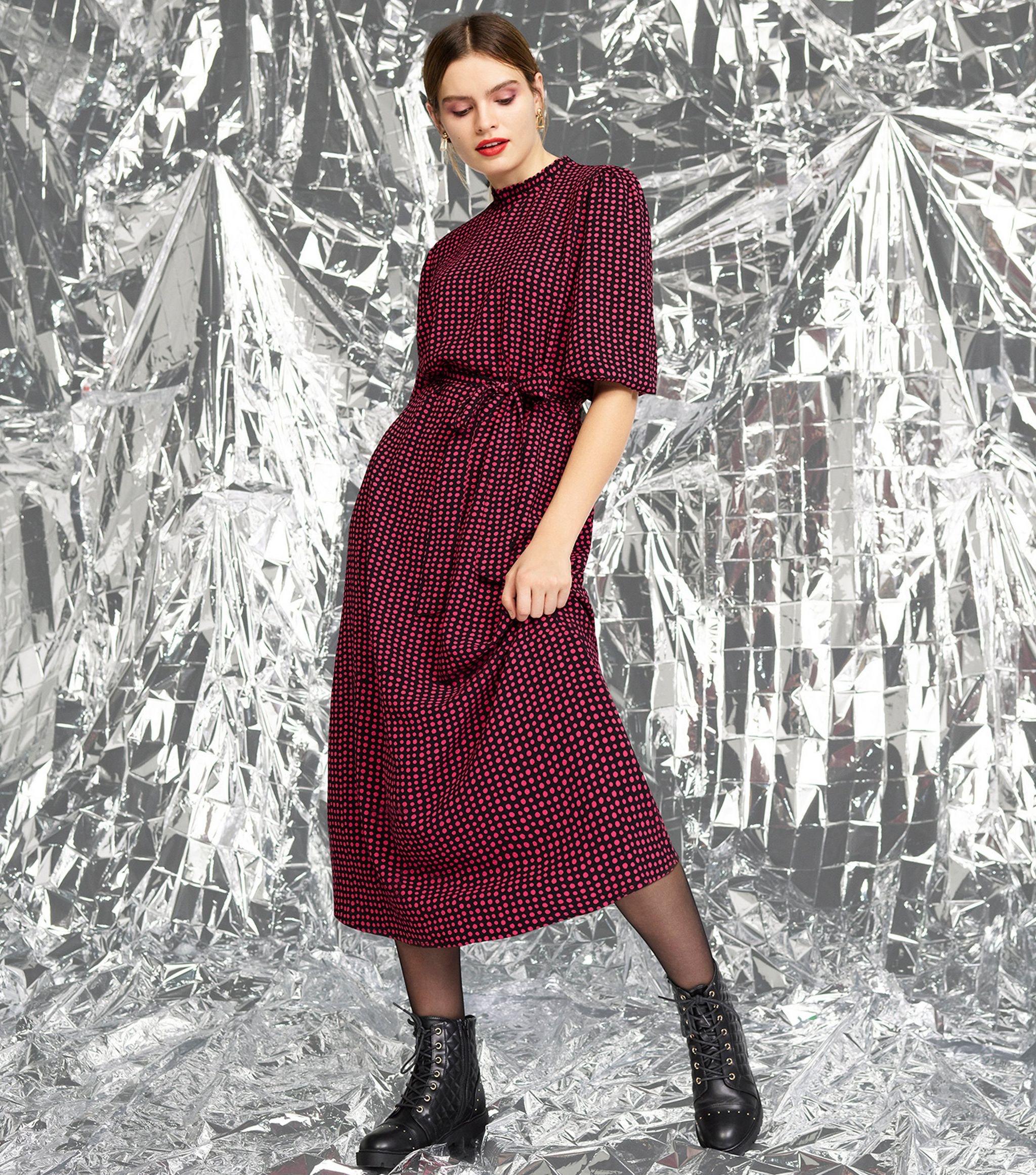 Black Spot Frill Neck Tie Waist Midi Dress £10.99 delivered @ New Look